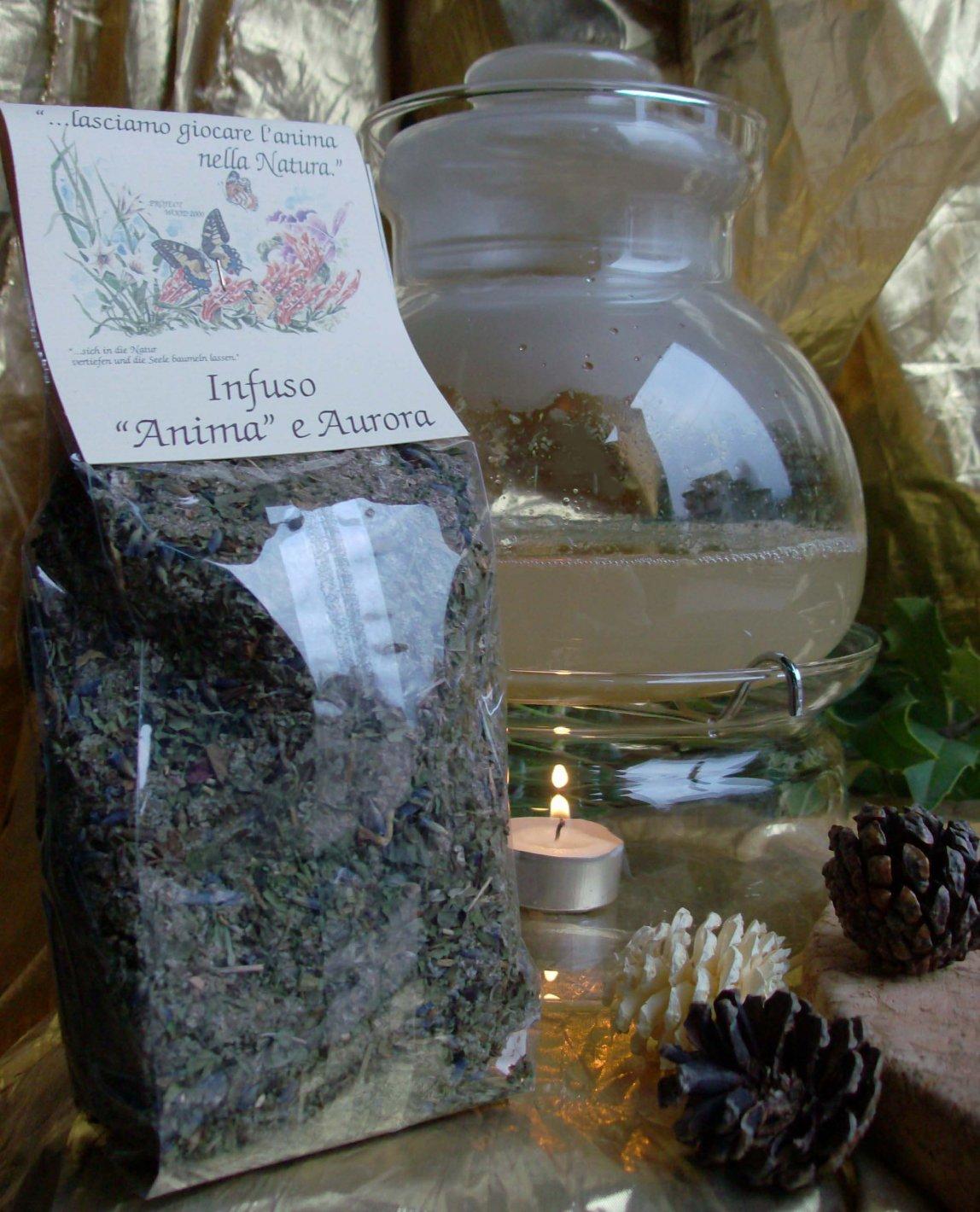 INFUSO ANIMA E AURORA 5.00€ Infuso naturale d'erbe e fiori di Lampone Selvaggio, Menta piperita,Melissa,Lavanda; Ottimo da degustare freddo e caldo